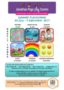Summer Playscheme 2017 at Jonathan Page Play Centre @ Jonathan Page Play Centre | England | United Kingdom