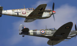 A Spitfire and Messerschmitt in the skies again