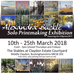 Alexandra Buckle Solo Printmaking Exhibition Featuring the 50 Prints 2017 @ Claydon Estate | Middle Claydon | England | United Kingdom