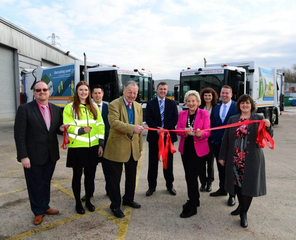 Chairman of Aylesbury Vale District Council, Councillor Sue Renshell, and Cabinet Member for Environment and Waste, Councillor Sir Beville Stanier, launching the new recycling and waste vehicles, accompanied by AVDC senior officers