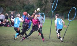 Quidditch players in action