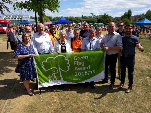 Green Flag raising at Vale Park