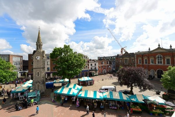 An aerial view of Market Square, Aylesbury