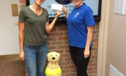 Nadia Turnbull, a local guide dog owner, visits the golf club with her guide dog Leah