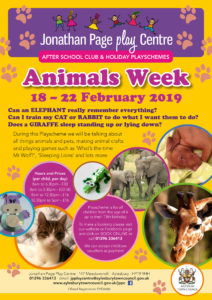 February Half Term Playscheme - Animals Week @ Jonathan Page Play Centre