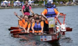 Chinese dragon boat with crew