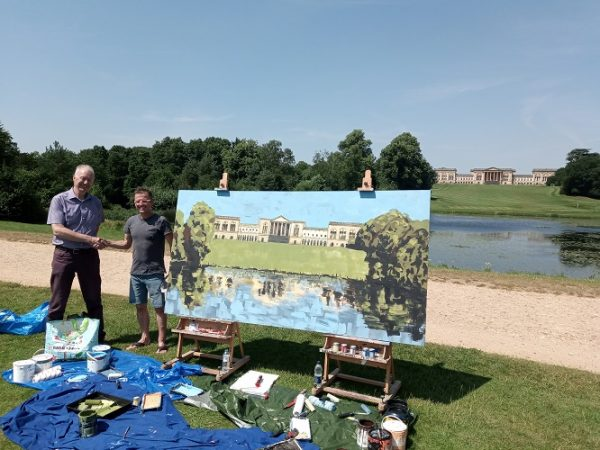 The finished artwork is formally handed over to Stowe House Preservation Trust's CEO Nick Morris